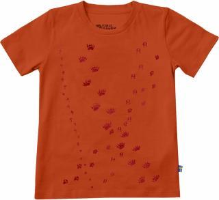 fjellreven kids animal tracks t-shirt - flame orange