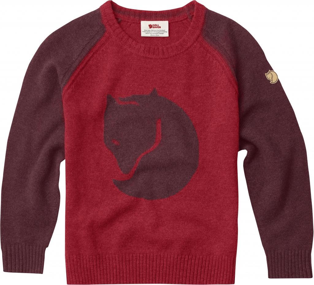 fjellreven kids fox genser - dark-garnet