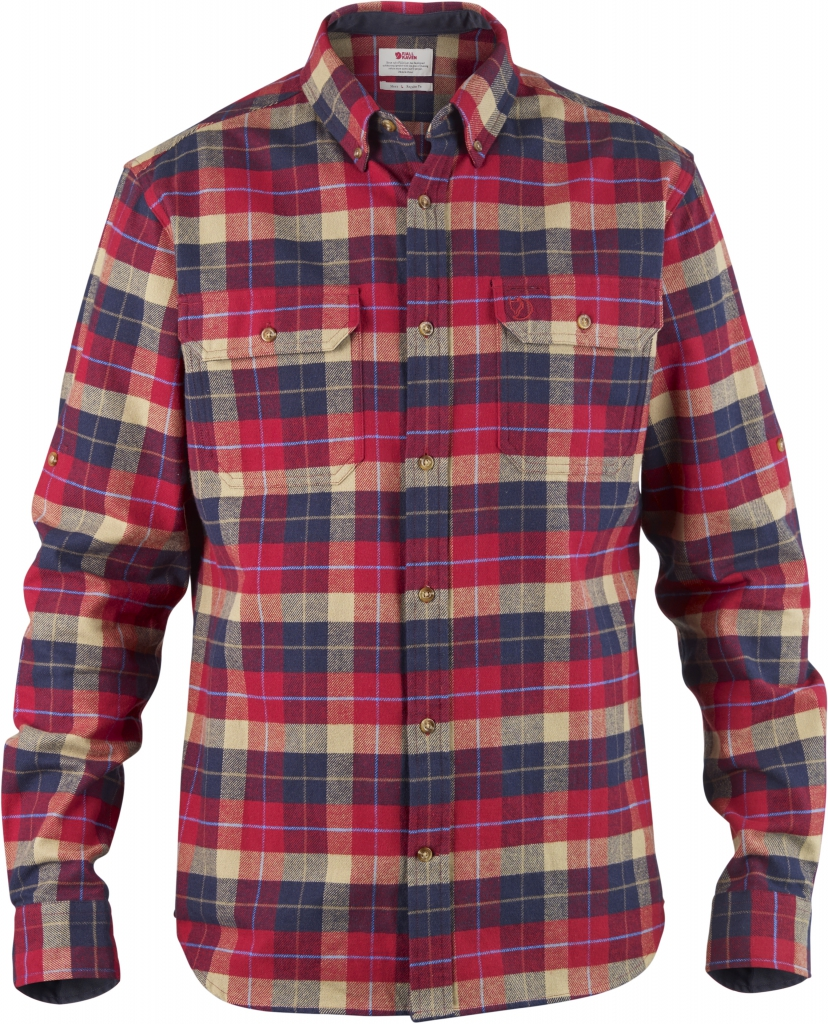 fjellreven singi heavy flannel shirt - deep red