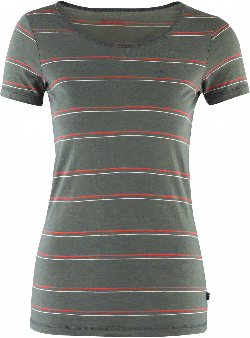 fjellreven high coast stripe t-shirt dame - ash grey