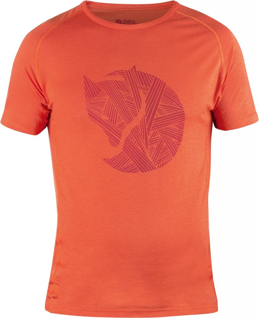 fjellreven abisko trail t-shirt print - flame orange