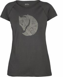 fjellreven abisko trail t-shirt print dame - dark grey