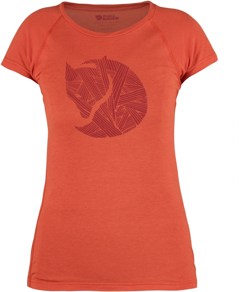 fjellreven abisko trail t-shirt print dame - flame orange