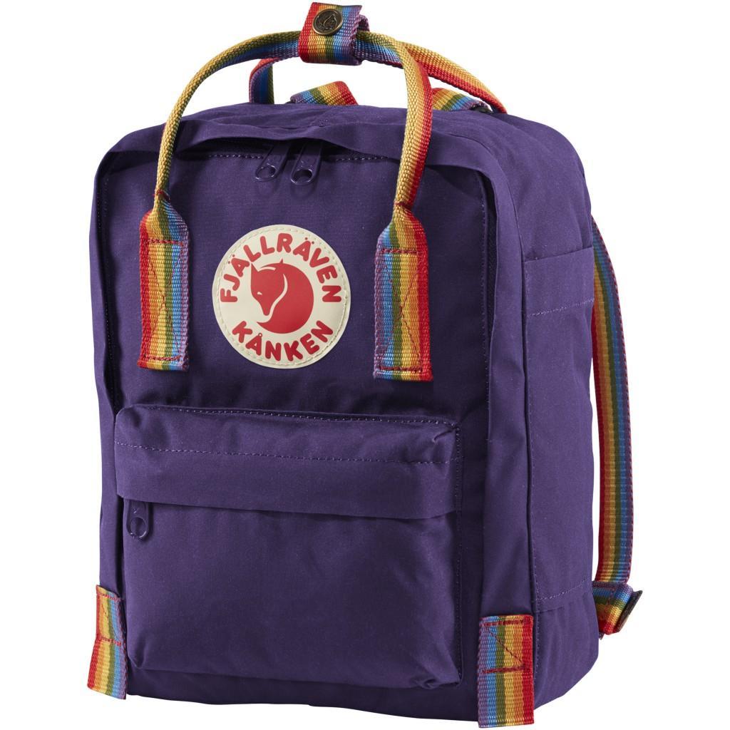fjellreven kånken rainbow mini - purple - rainbow pattern