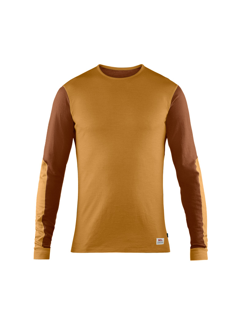 fjellreven keb wool t-shirt ls herre - acorn - chestnut