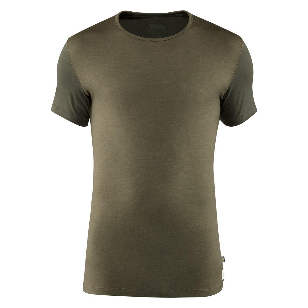 fjellreven keb wool t-shirt herre - laurel green - deep forest