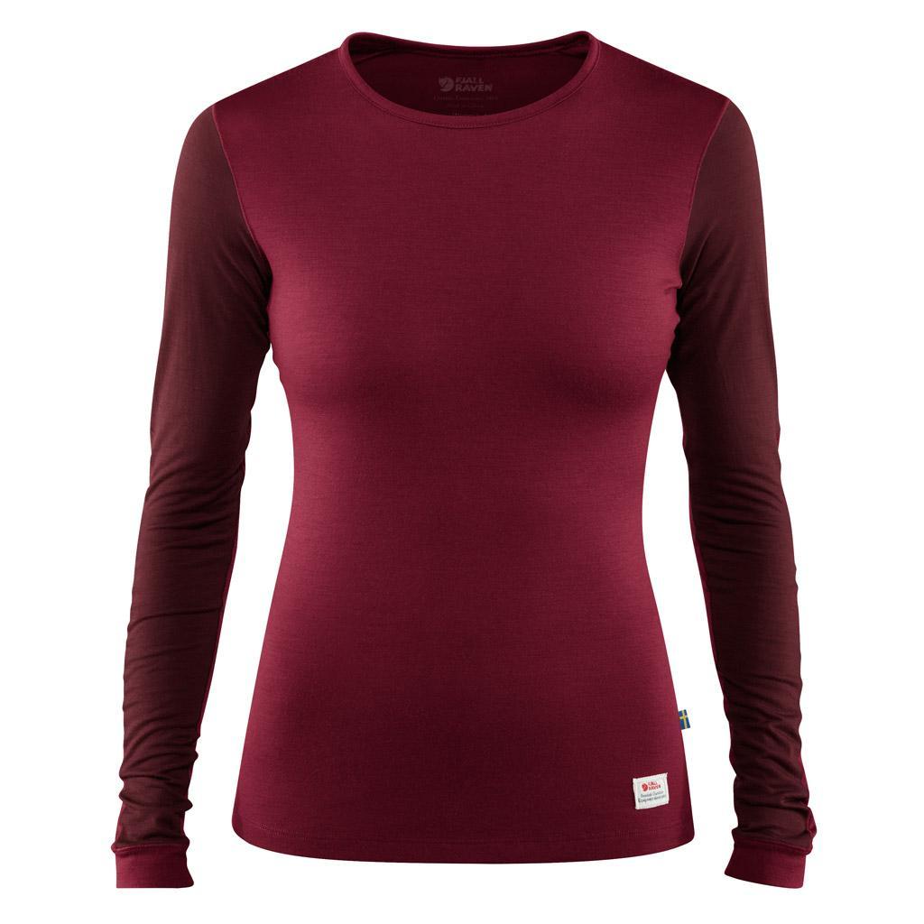 fjellreven keb wool t-shirt ls dame - plum - dark garnet