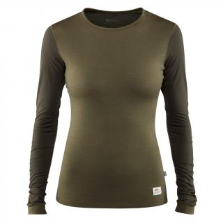 fjellreven keb wool t-shirt ls dame - laurel green - deep forest