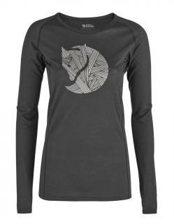 fjellreven abisko trail t-shirt printed ls dame - dark grey