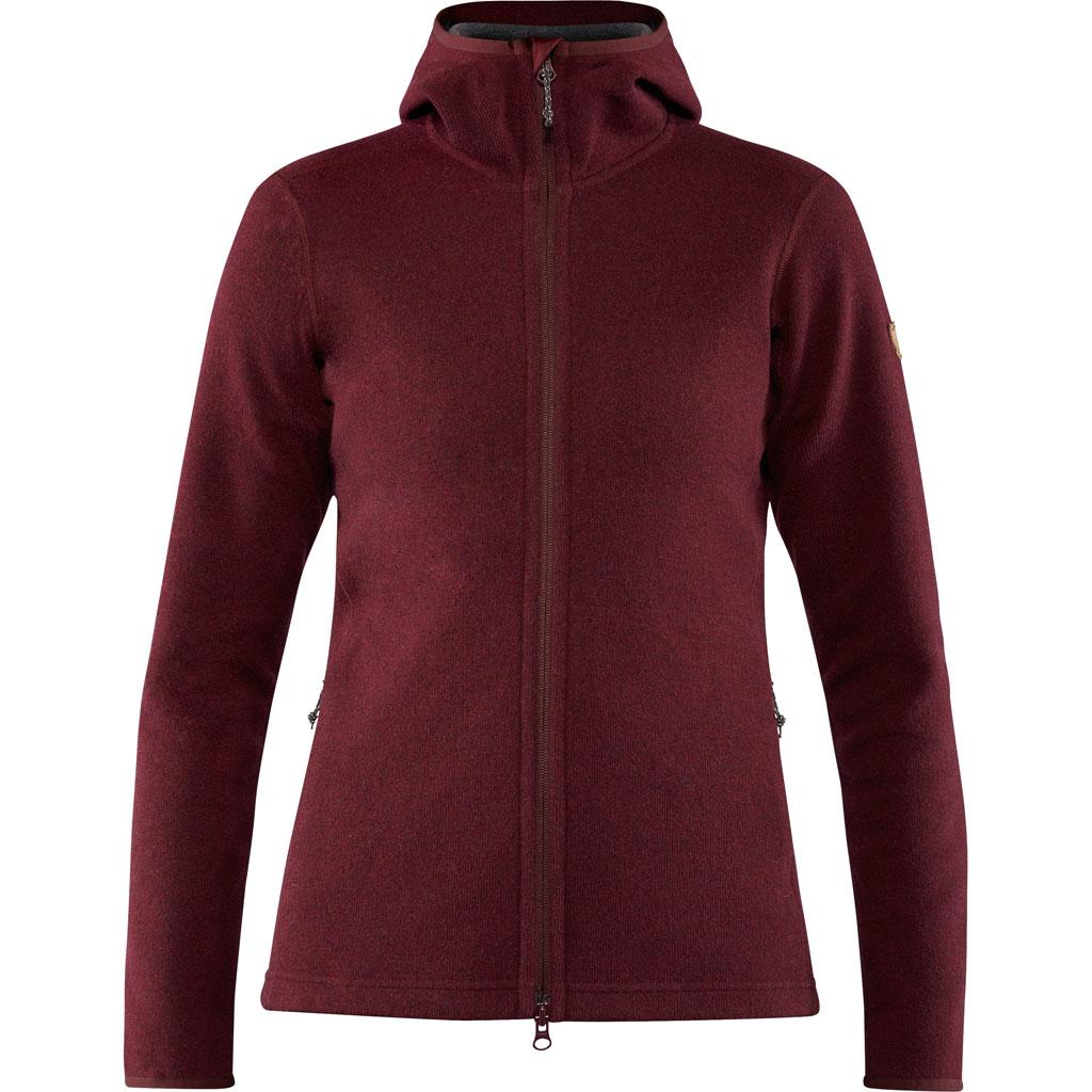 fjellreven high coast wool hoodie dame - dark garnet