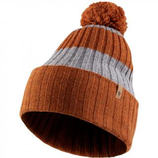 fjellreven byron striped pom hat - autumn leaf - grey