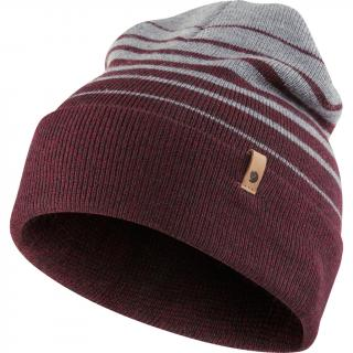 fjellreven classic striped knit hat - dark garnet - grey
