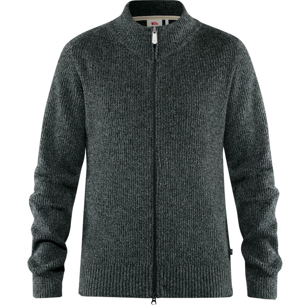 fjellreven greenland re-wool cardigan herre - dark grey
