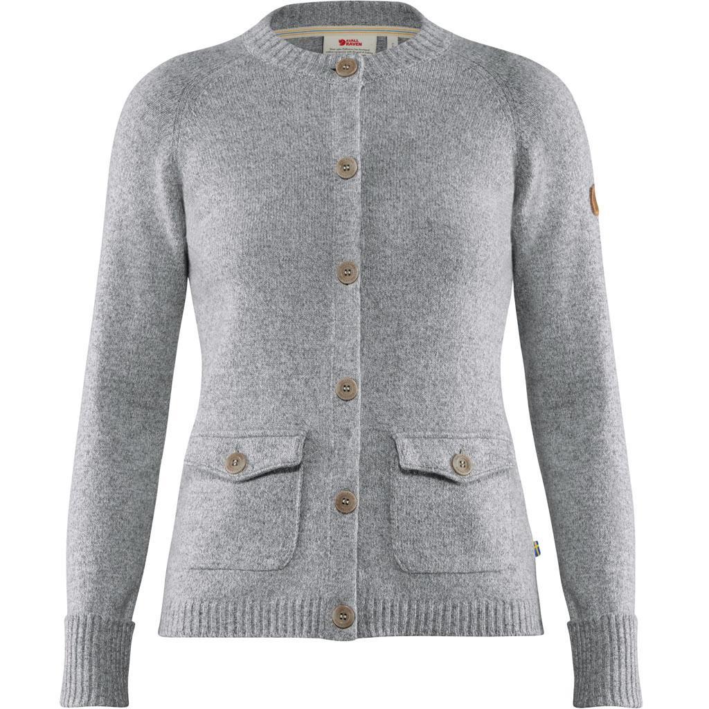 fjellreven greenland re-wool cardigan dame - grey