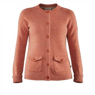 fjellreven greenland re-wool cardigan dame - terracotta pink