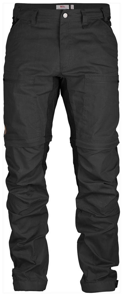 fjellreven abisko lite trekking zip-off bukse regular herre - dark grey - black