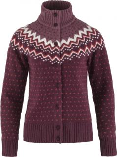 fjellreven Övik knit cardigan dame - dark garnet